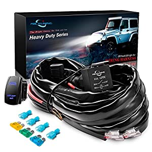 MICTUNING HD+ 12 Gauge 600W LED Light Bar Wiring Harness Kit w/ 60Amp Relay, 3 Free Fuse, Rocker Switch Blue(2 Lead)