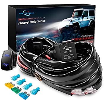 Amazon opt7 12 gauge 500w 1 way led light bar wiring harness w mictuning hd 12 gauge 600w led light bar wiring harness kit w 60amp relay 3 free fuse rocker switch blue2 lead swarovskicordoba Image collections