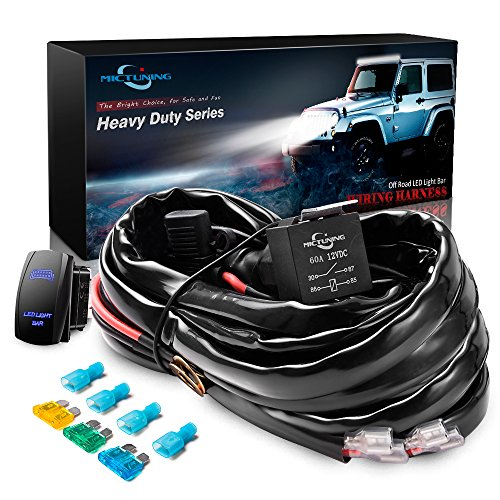 MICTUNING HD+ 12 Gauge 600W LED Light Bar Wiring Harness Kit w/ 60Amp Relay, 3 Free Fuse, Rocker Switch Blue(2 Lead) Auxiliary Wiring