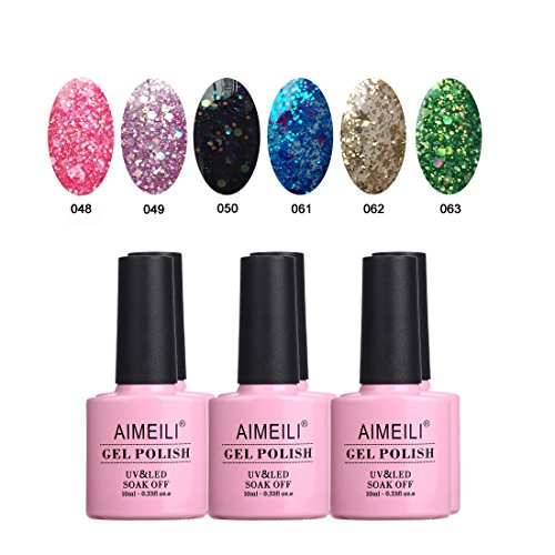 AIMEILI Glitter Gel Nail Polish Soak Off UV LED Gel Nail Lacquer Combo Color Set Of 6pcs X 10ml - Kit Set 10]()