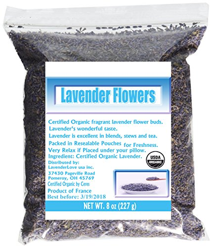 LavenderLove Organic French Culinary Grade Lavender Flowers, 8 Oz - Gifts, Flowers & Food