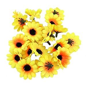 WSSROGY 100Pcs Sunflowers Flower Heads Artificial Flower Head Daisy Flowers Heads 93