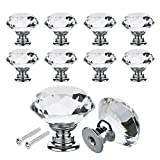 Bluecookies 16PCS Drawer Knobs 30mm Diamond Crystal Glass Clear Door Cabinet Pulls Handles