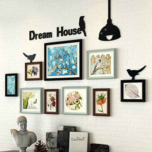 Home@Wall photo frame Photo Gallery Frame Set Of Wall With Usable Artwork And Family, Set Of 9 ( Color : B ) by ZGP