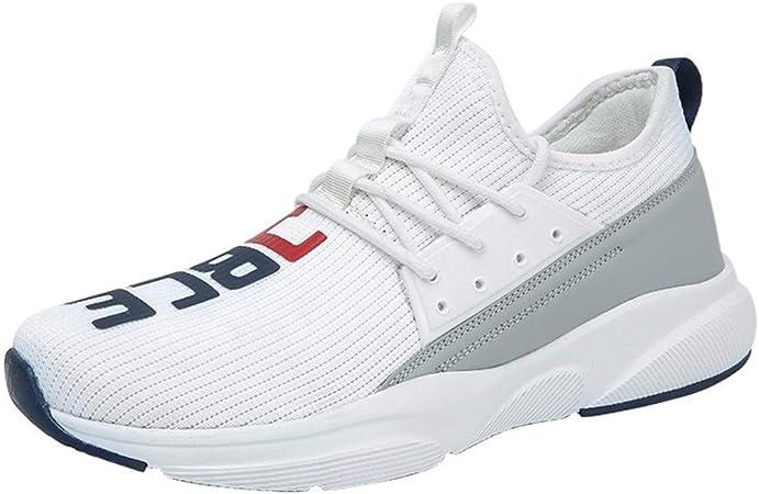 FJJLOVE Mujer Running Capacitadores, Malla De La Zapatilla De Deporte De Atletismo Zapatos Que Caminan Ocasionales del Slip Ligera En Zapatillas para Tenis Gimnasio Sendero,Blanco,36: Amazon.es: Hogar