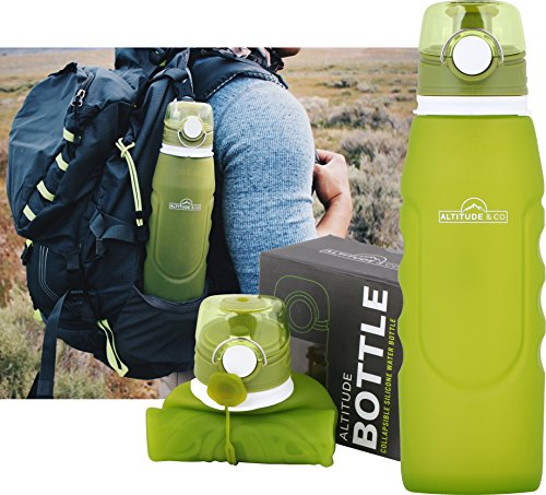 Collapsible Silicone Water Bottle with Air Release Valve for Backpacking, Camping and Hiking - by Altitude & Company, (35 oz) 1000 ml fluid capacity, BPA free by Altitude & Co.