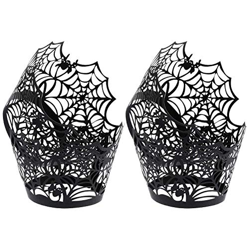TOOGOO 100 Pieces Spiderweb Cupcake Wrappers -Cut Cupcake