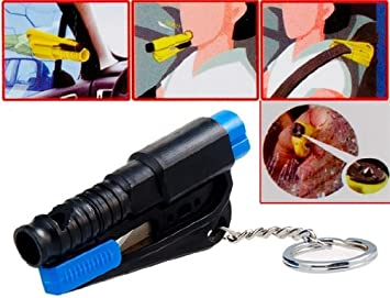 4 in 1 Mini Key Chain, Safety Hammer, Scissors & Whistle Rescue Tool Set (Black): Amazon.es: Electrónica