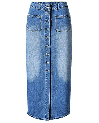 Jean Devant Jupe Bleu Avec Bouton En Femmes Jupe MaxiJeans Rq46XXE