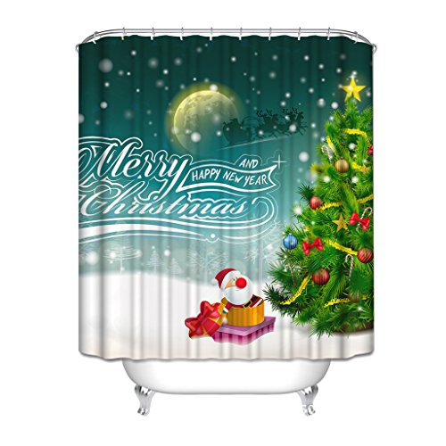 Merry Christmad And Happy New Year A Christmas Tree Next To Santa Claus In A Gift Box Side Santa Claus With Deer Flying On The Moon Shower Curtain, Watre-Repellant, Mildew-Free, (Next New Moon On Halloween)