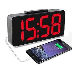 Alarm Clock ,Samshow Large LED Display Clock, USB Power Desk Clock with Brightness adjustment,12/24 display, snooze Suit for bedside, living room or office (Black)