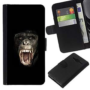 Leather Etui en cuir || Samsung Galaxy Core Prime || mono chimpancé planeta del @XPTECH