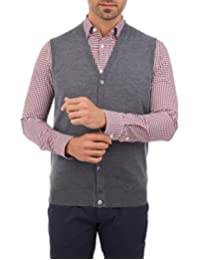 Chaleco Button-Down Tipo Cardigan Gris