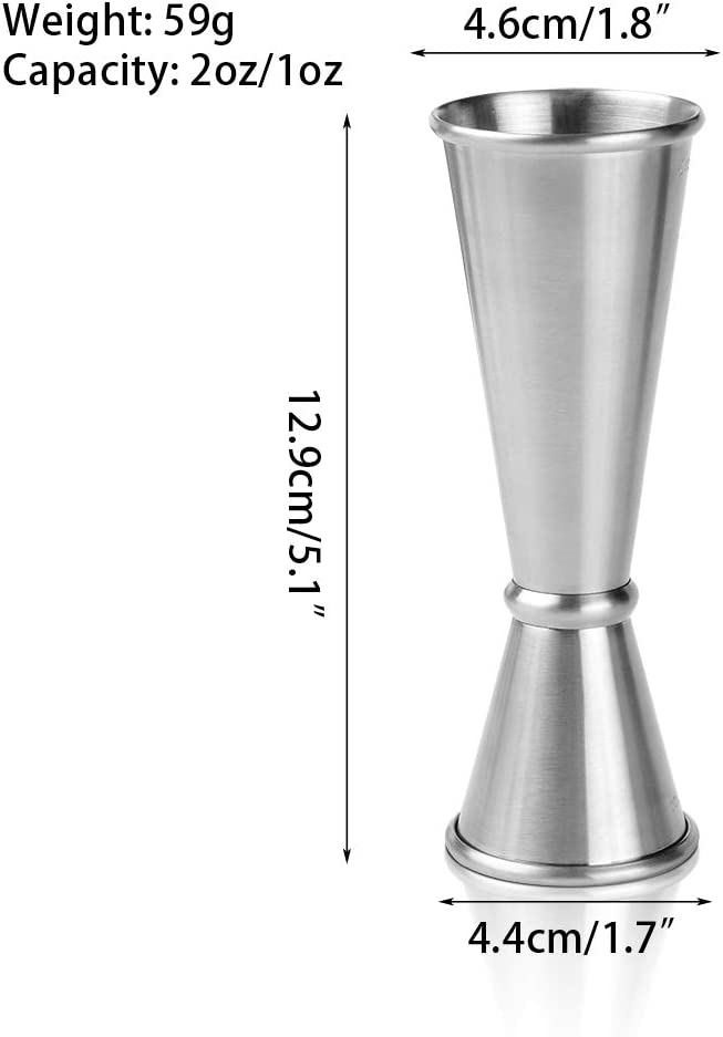 Double Jiggers Set of 2 Cocktail Stainless Steel Measuring Home Bar Tools Alcohol Bartender,1oz//2oz