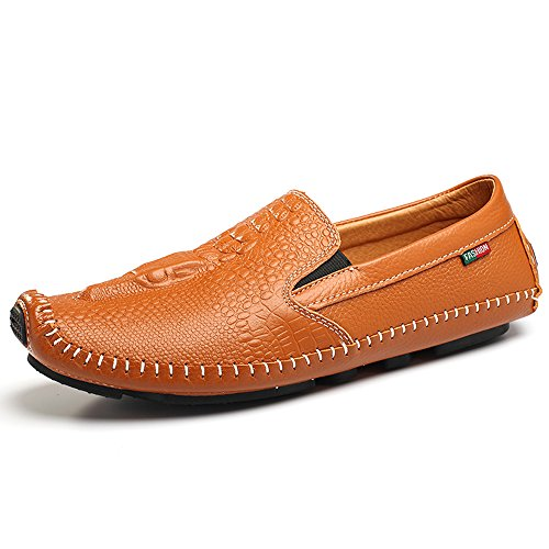 SUNROLAN Mens Business Classica Pattern Leather Formal Flat Loafers Slip on Driving Moccasins Shoes Saddle Brown