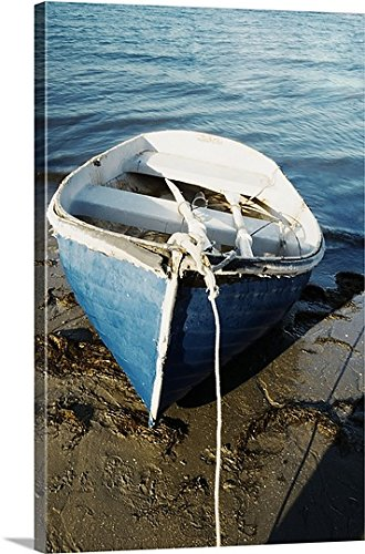 mium Thick-Wrap Canvas Wall Art Print entitled High angle view of a rowboat parked on the shore, San Diego, California, USA 16