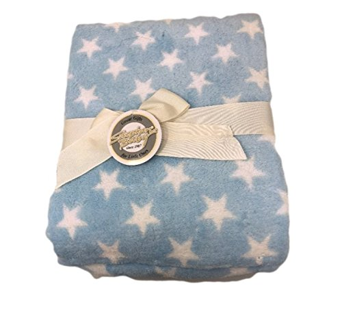 (Stephan Baby Super-Soft Fleece Crib Blanket, Blue with White)