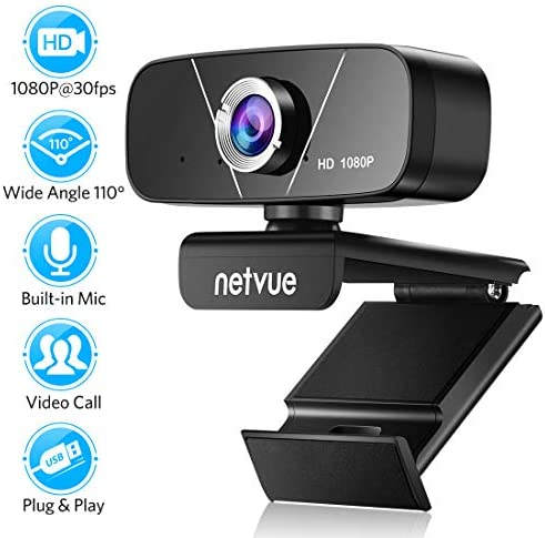 Webcam with Microphone, Full HD 1080P Plug & Play Web Cameras for Computers, 110-Degree Wide View Angle, Facial-Enhancement Technology, 3 in 1 Webcam for Streaming, Recording, and Video Conferencing