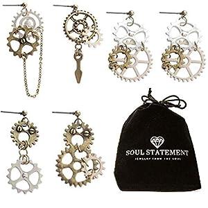 Steampunk Jewelry: Halloween Statement Earrings Gears Mixed Metal