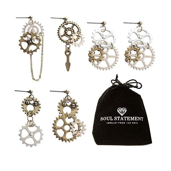 Steampunk Jewelry: Halloween Statement Earrings Gears Mixed Metal 3