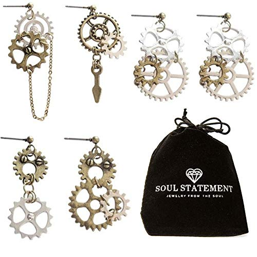 Steampunk Jewelry: Halloween Statement Earrings Gears Mixed Metal