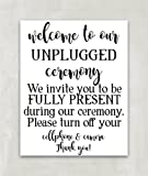 Unplugged Wedding Sign, Unplugged Ceremony Sign, Reception Sign, No phones no cameras - 8 x 10 Print ((UNFRAMED))
