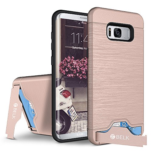 Price comparison product image Galaxy S8 Case,BELK Slim Shockproof Brushed Texture PC & Rugged TPU Hybrid Armour Dual Layer Protective Case,High Impact Defender Bumper Case With Kickstand & Card Slot For Samsung Galaxy S8 - Pink