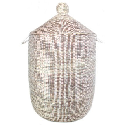 Woven African Laundry Clothes Hamper - White - Large - Fair Trade by Connected Fair Trade Products