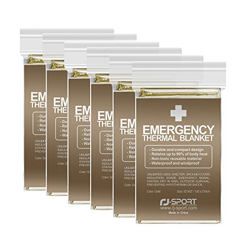 Survive Outdoors Longer Emergency Blanket,Emergency Thermal  Blankets,Emergency Mylar Thermal Blankets 6-Pack ,Perfect for Outdoors,  Hiking, Survival,