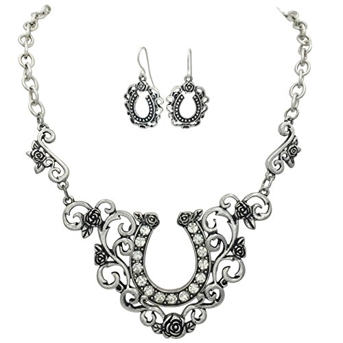 Horseshoe Swirl Bib Western Style Necklace and Earrings Set (Silver Tone)