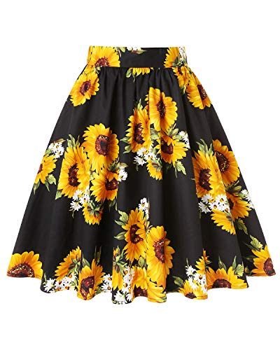 MINTLIMIT Vintage 50's Full Circle Swing Pleated Floral A Line Midi Skirt with Pockets(Floral Yellow,Size XL)