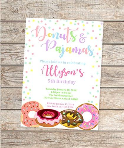 Donuts and Pajamas Invitation, Donuts Birthday Party Invitation, Donuts & Pajamas Party Invites