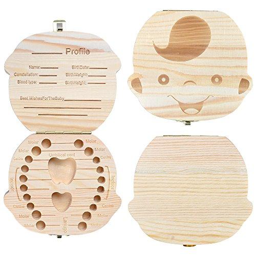 StarsTech Cute Baby Teeth Box Wooden Milk Teeth Case Baby Shower Gift Boy Girl Types (boy)