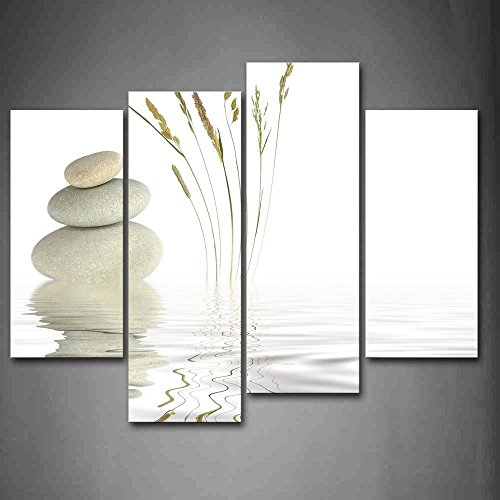 First Wall Art - Stones And Grass In Water Wall Art Painting Pictures Print On Canvas Religion The Picture For Home Modern Decoration by Firstwallart