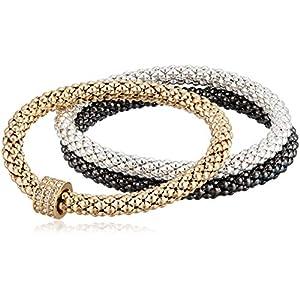 Best Epic Trends 51xOh5SRbwL._SS300_ NINE WEST Boxed Tri-Tone Set of 3 Stretch Bracelet