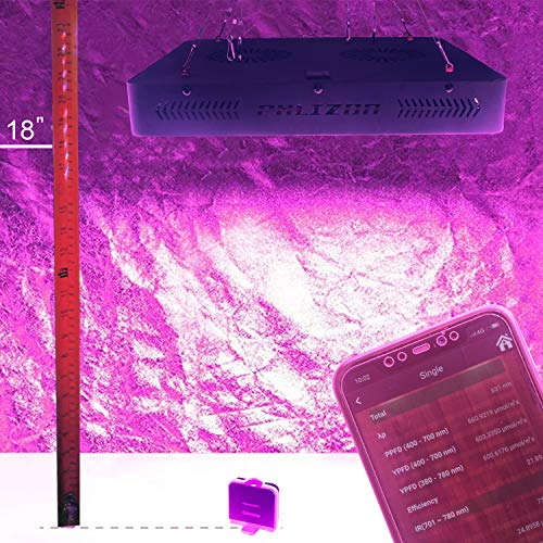 Phlizon 1200W Double Switch Series Plant LED Grow Light for Indoor Plants Greenhouse Lamp Full Spectrum Growing LED Light for Veg Bloom with Thermometer Adjustable Rope(Actual Power 250watt)
