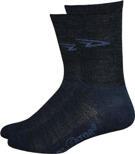 High Top Bike Sock - Defeet Wooleator High Top 5in Socks D-Logo/Charcoal Graphite, XL - Men's