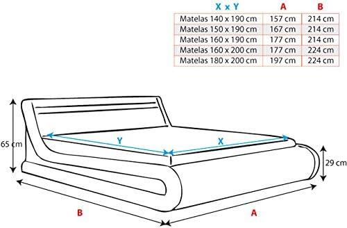 muebles bonitos Cama canap/é abatible de Matrimonio Moderna Parisina con somier de l/áminas para colch/ón de 160x190cm Blanco Negro dise/ño Italiano con LED Multicolor RGB con Mando a Distancia