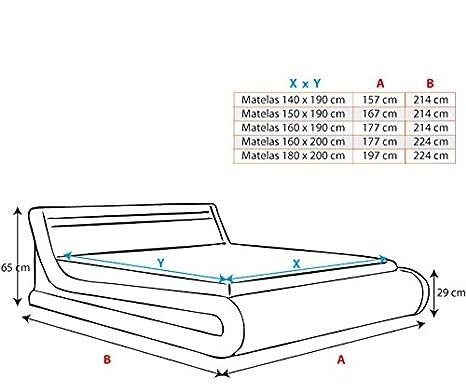 muebles bonitos Cama canapé abatible de Matrimonio Moderna Parisina con somier de Láminas para Colchón de 150x190cm Negro Diseño Italiano con LED Multicolor ...