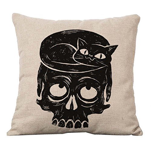 [YOUR SMILE Skull Cotton Linen Decorative Cushion Covers Vintage Skull Throw Pillow Cases 18 x 18 (Cute Cat] (Cute Halloween Pictures Of Cats)