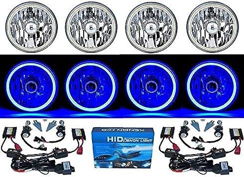 "7/"" SMD Purple LED Halo Angel Eye Headlamp Headlight Halogen Light Bulbs Pair Img"