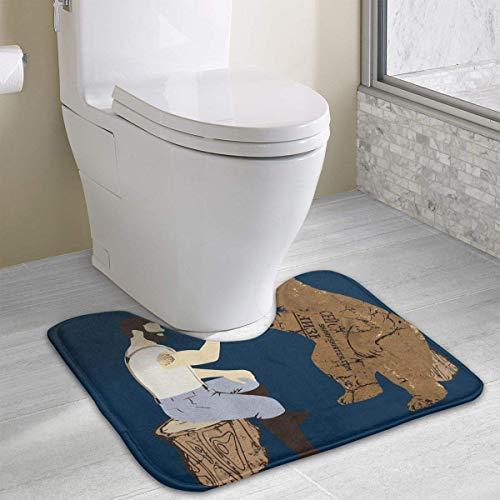 Bears and Beer Contour Bath Rugs,U-Shaped Bath Mats,Soft Polyester Bathroom Carpet,Nonslip Toilet Floor MatMachine Wash, 19.2″x15.7″