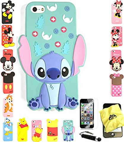 Bukit Cell ® 3D Cartoon Case Bundle - 4 items: ANIMATED STITCH Cute Silicone Case for iPhone SE 5S 5 5G + BUKIT CELL Trademark Cloth + Screen Protector + METALLIC Stylus Touch (Stitch Cell Phone Case)
