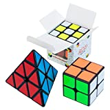 Cuboid Speed Cube Set of 3: 2x2, 3x3 & Pyramid Puzzle Cube | Adjustable Tension for Quick Turn and Smooth Play | Vivid Magic Cubes | Fidget Puzzle Cubes Classic IQ Games Toys for Kids & Adults Cuboid