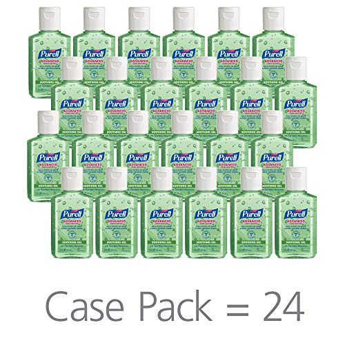 PURELL Advanced Hand Sanitizer Soothing Gel for the workplace, Fresh scent, with Aloe and Vitamin E - 2 fl oz bottle (Case of 24) - ()
