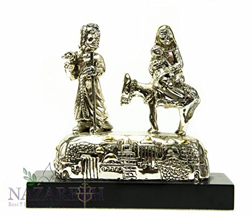 Holy Family With Donkey Silver Plated Statue Solid Base Jerusalem Holyland 6'' by Holy Land Gifts