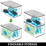 """mDesign Plastic Stackable Bathroom Storage Box with Handles, Lid - Holds Soap, Body Wash, Shampoo, Lotion, Conditioner, Hand Towels, Hair Accessories, Body Spray - 10"""" Long, 4 Pack - Clear/Smoke Gray"""