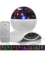 YSD Lámpara de iluminación nocturna, moderna proyección de cielo giratorio, lámpara de proyector de estrellas románticas para niños, recargable por USB y control remoto, el mejor regalo para niños, recámara(blanco)