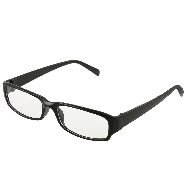 Amazon.com: Man Woman Black Plastic Full Frame Clear Lens Glasses ...