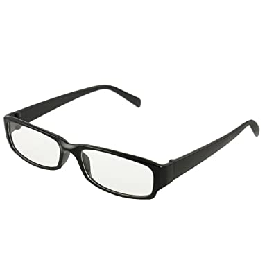 fdd27e30ced Man Woman Black Plastic Full Frame Clear Lens Glasses Eyeglasses   Amazon.co.uk  Clothing